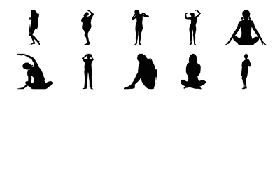10 objects in different positions.