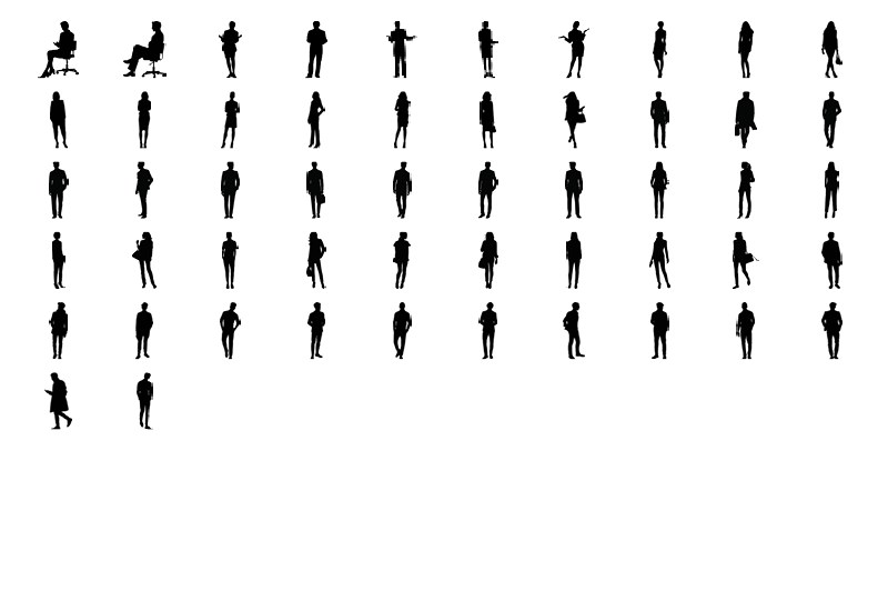 52 objects in different positions.