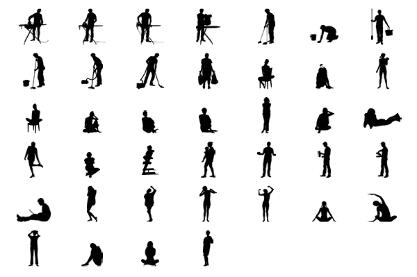 39 objects in different positions.