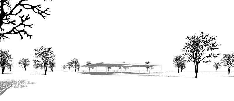 Trees cast shadows over terrain and other objects. Also in elevation and plan drawings.